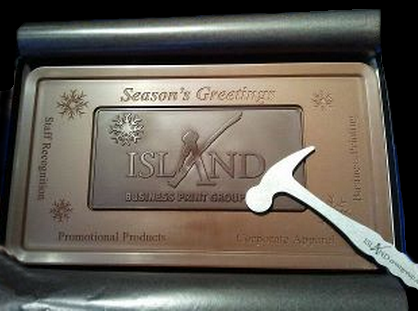 Chocolate Bar - dark and milk chocolate - Island Business Print Group with hammer